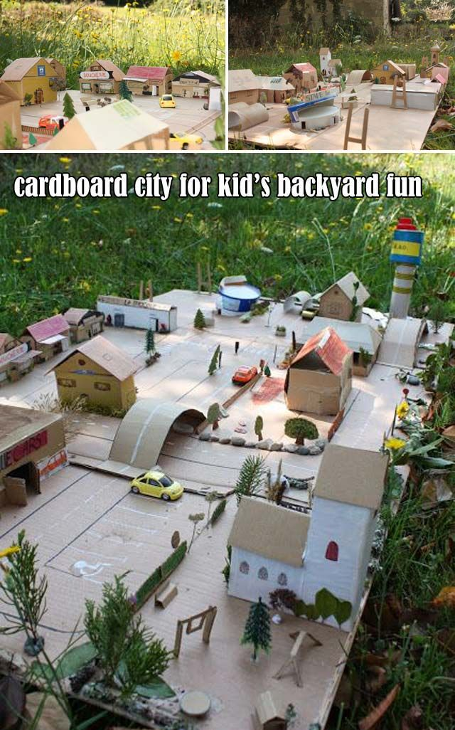 Use cardboard and some other little toys to build a kid's play city in your yard  #cardboard  #backyardplayarea #playhouse