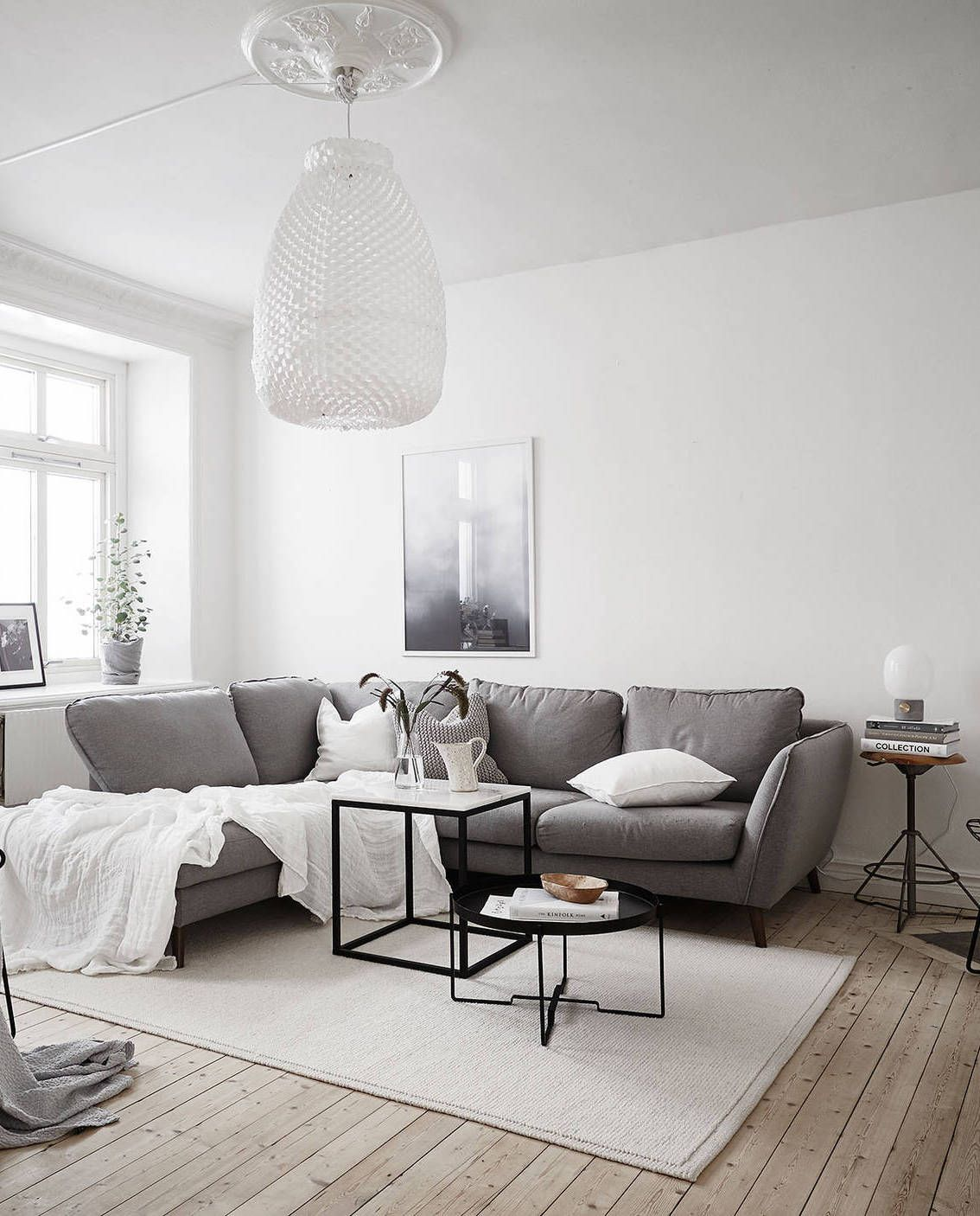 Neutral home with black accents