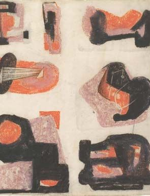 Henry Moore, Drawing for Metal Sculpture, 1935 (detail). Coloured crayon and pastel.