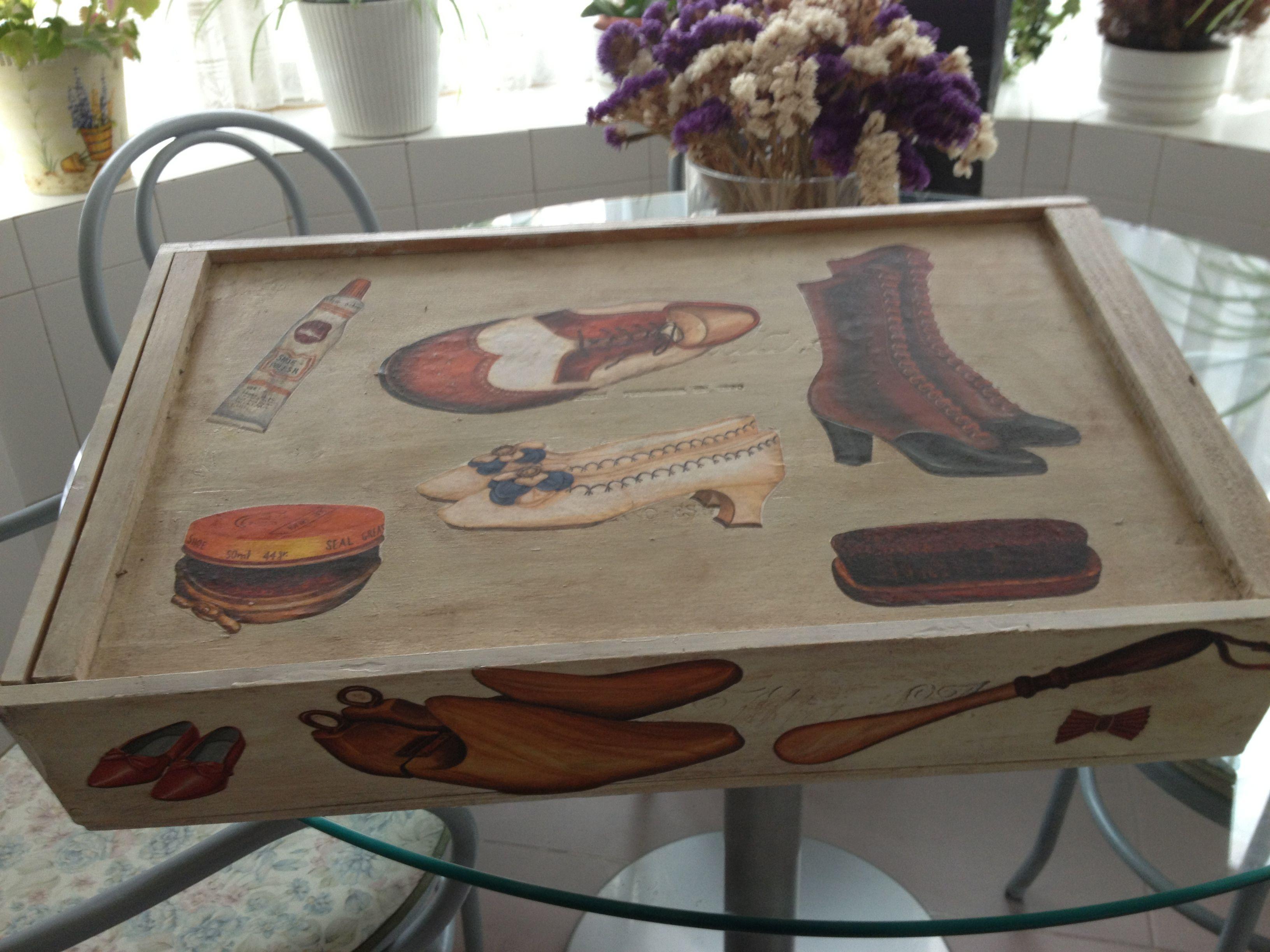 caja de vino reciclada para caja limpieza calzado decoupage