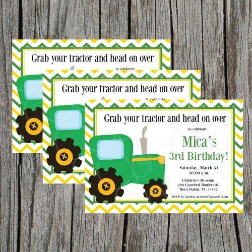 John Deere Tractor Chevron Digital Printable Birthday Party Pack