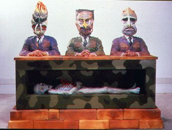 Robert Arneson Sacophagus The Corpse Is Holding A Peace Symbol