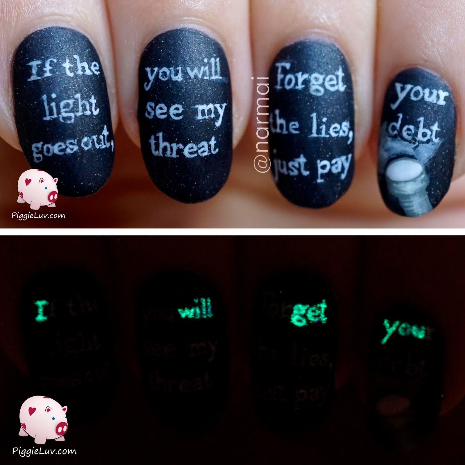 Glow In The Dark Threat Message Nail Art Halloween Nail Art Halloween Nails Halloween Nail Designs