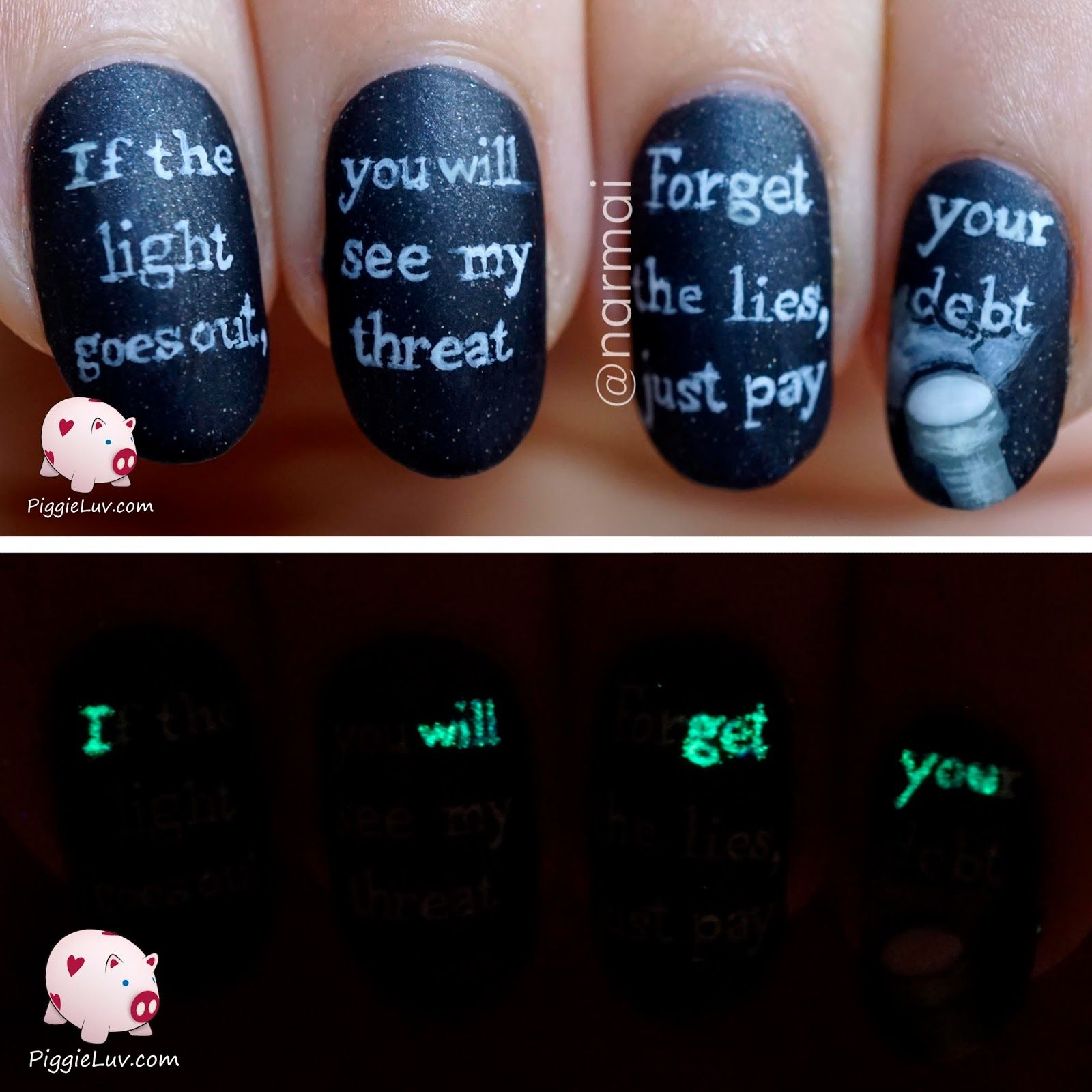Glow in the dark threat message nail art | Creepy stuff, Creepy and ...