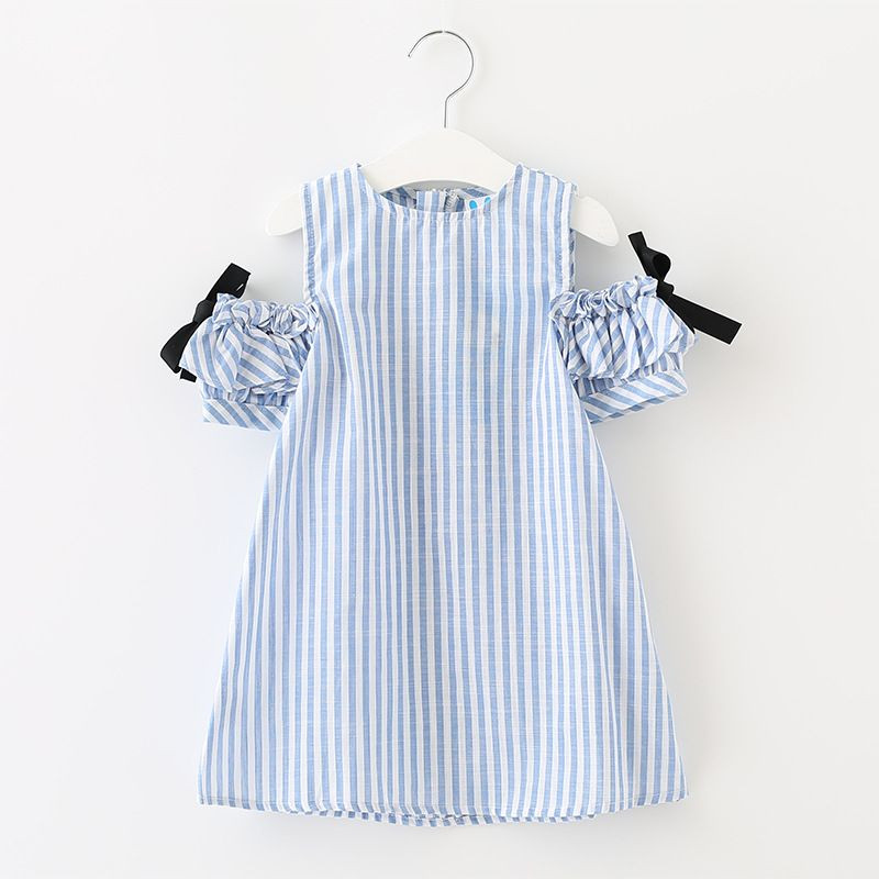 e3322f5316f Aliexpress.com   Buy off shoulder teenage little girls dresses spring  summer dress girl kids 2018 cotton bow red striped girls children clothing  from ...