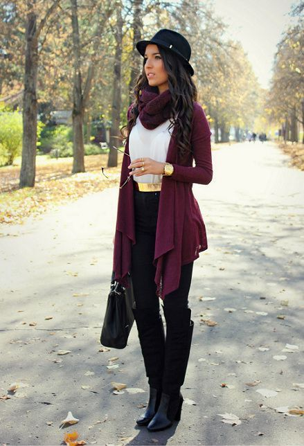 BURGUNDY WATERFALL CARDIGAN | Hats | Pinterest | Fashion