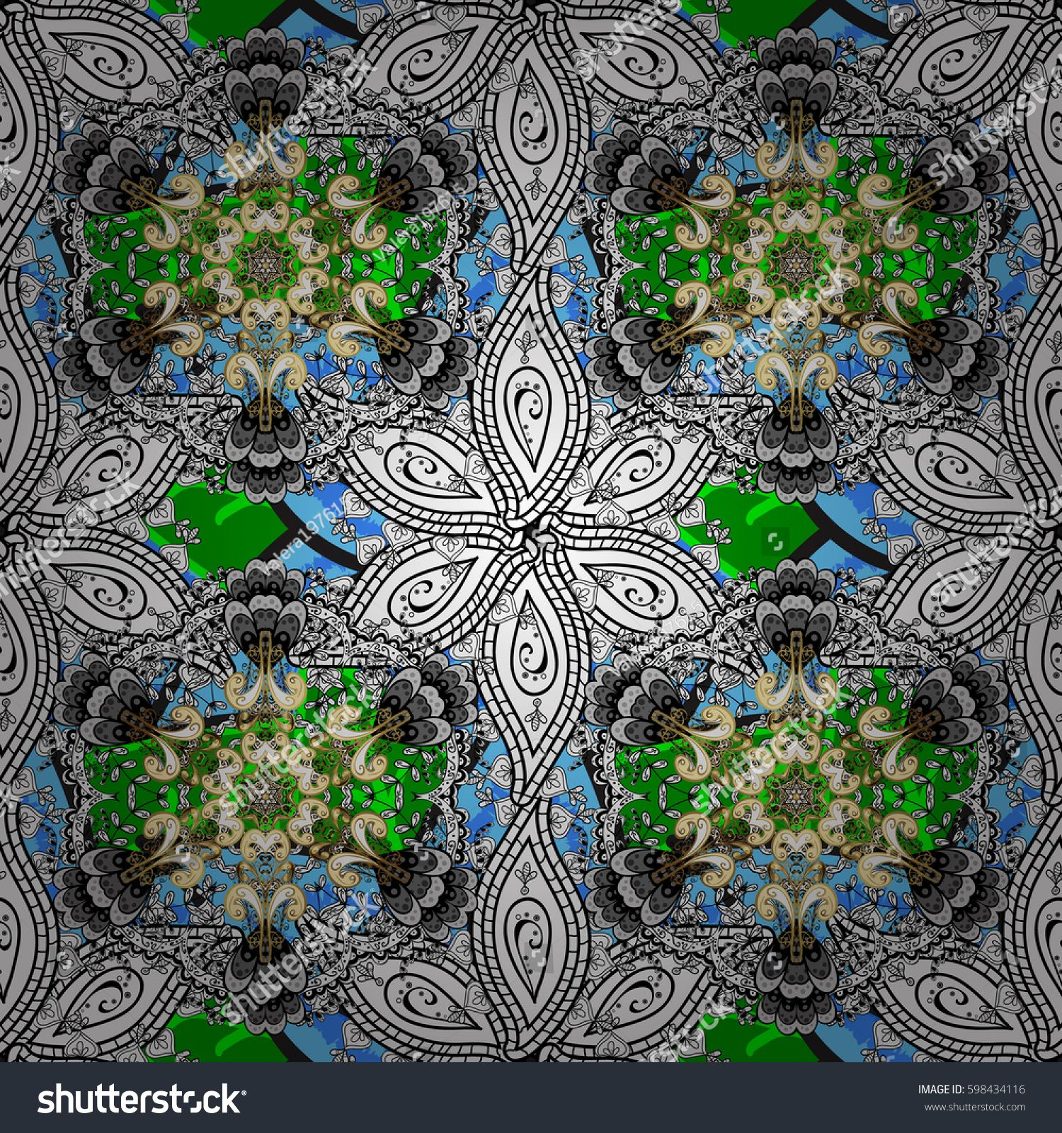 Photo of Vector abstract floral wreath from white doodle fantasy leaves and flower. Hand …