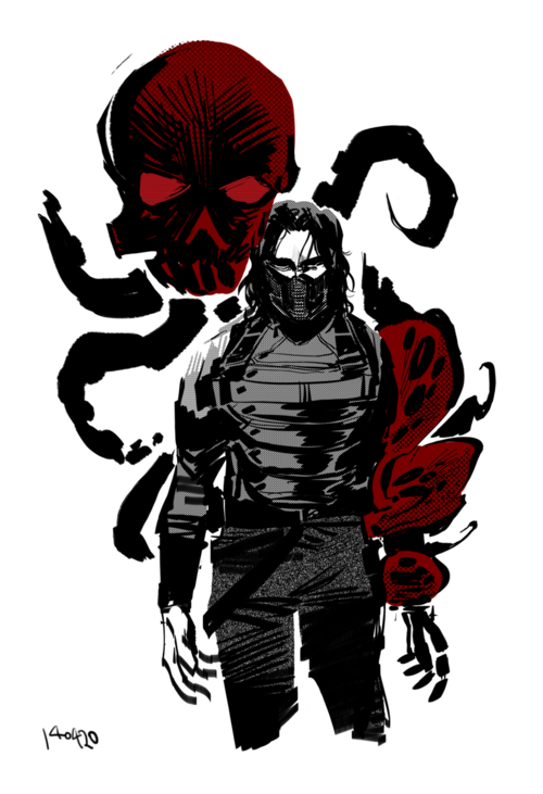 The Winter Soldier - Captain America: The Winter Soldier by Shirow Miwa<<the octopus's tentacles are wrapped in a death lock around Bucky :'(