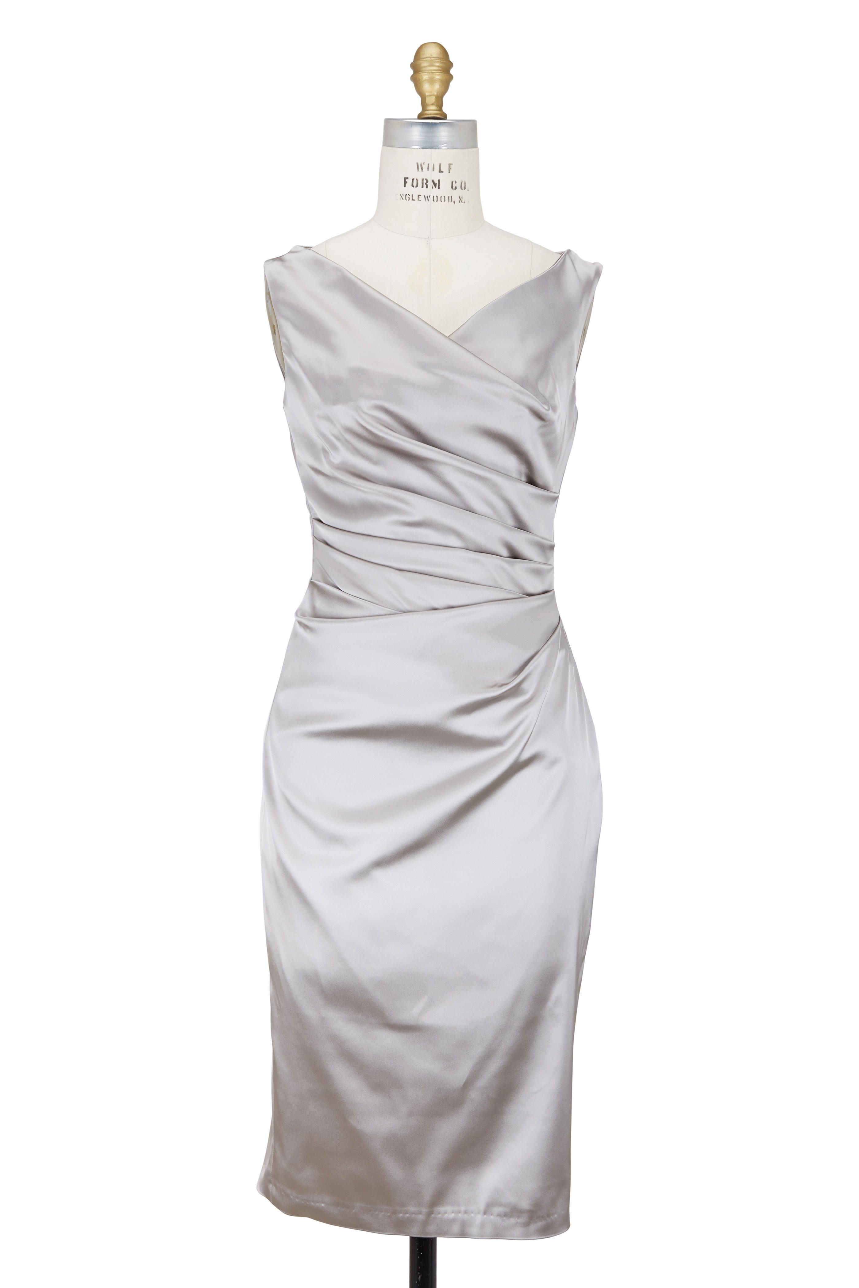 Talbot Runhof Silver Satin Side Ruched Fitted Cocktail Dress Dresses Cocktail Dress Online Dress Shopping [ 4200 x 2800 Pixel ]