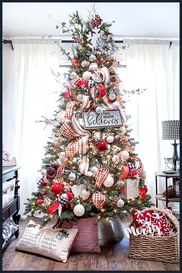 Picturs Of 2021 Decoratied Christmas Trees Bright And Festive Farmhouse Christmas Tour Welcome To My Christmas Home Tou Christmas Decorations Rustic Tree Christmas Tree Inspiration Rustic Christmas Tree