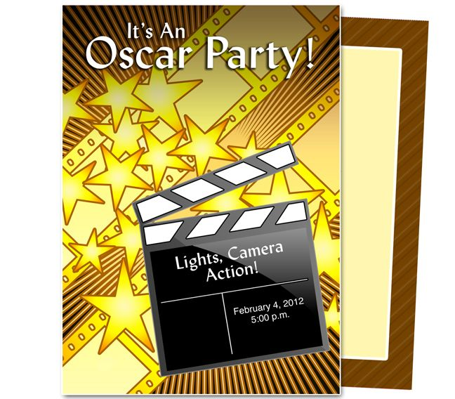 oscar party clapperboard oscar party template work event