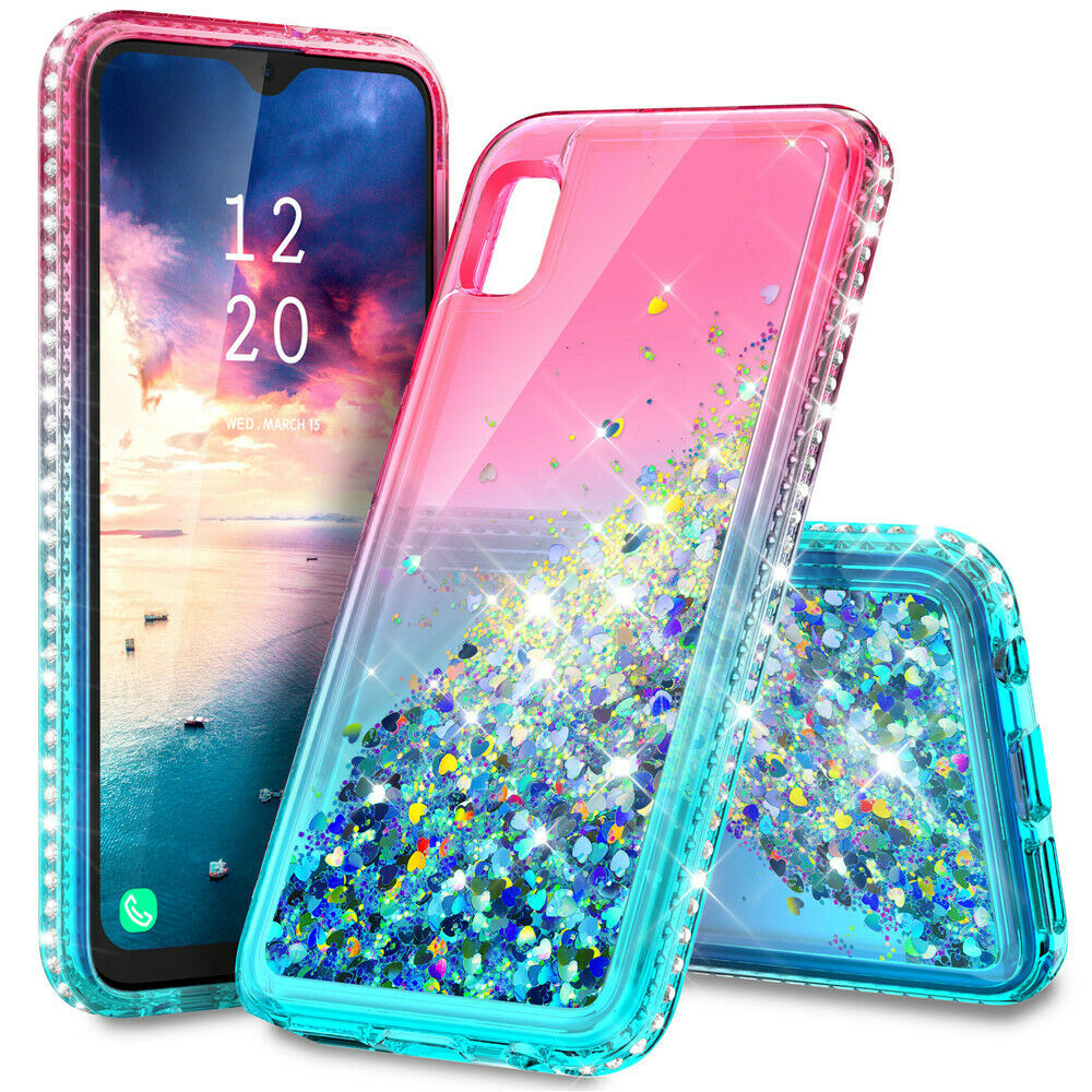 For Samsung Galaxy A10e Shockproof Glitter Liquid Bling Rubber Phone Case Cover Pink Phone Cases Phone Cases Phone Case Cover