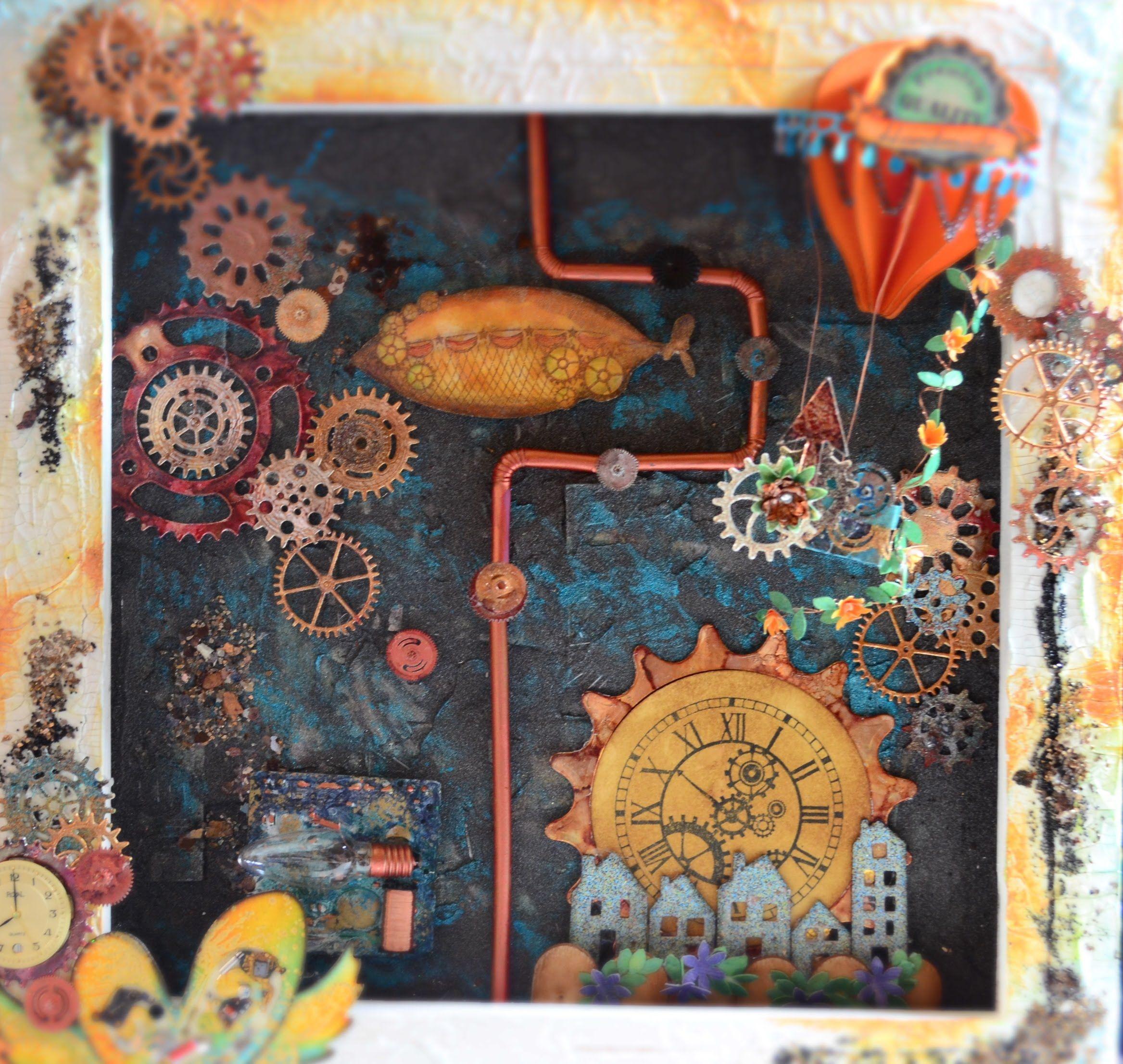 Wunderbar Collage Basteln Referenz Von Mixed Media Im Steampunk-stil[basteln Mit Papier,deutsch]