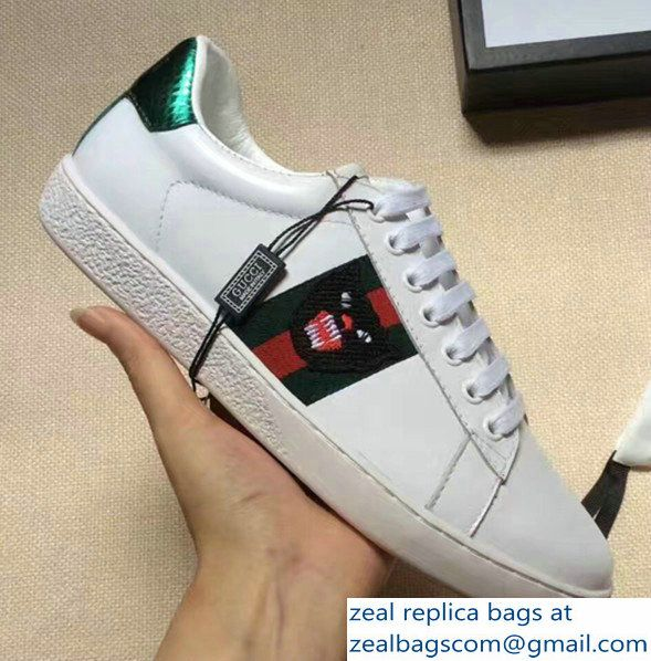 4cb77e48e Gucci Ace Leather Embroidered Panther Head Low-top Sneaker 457131 White