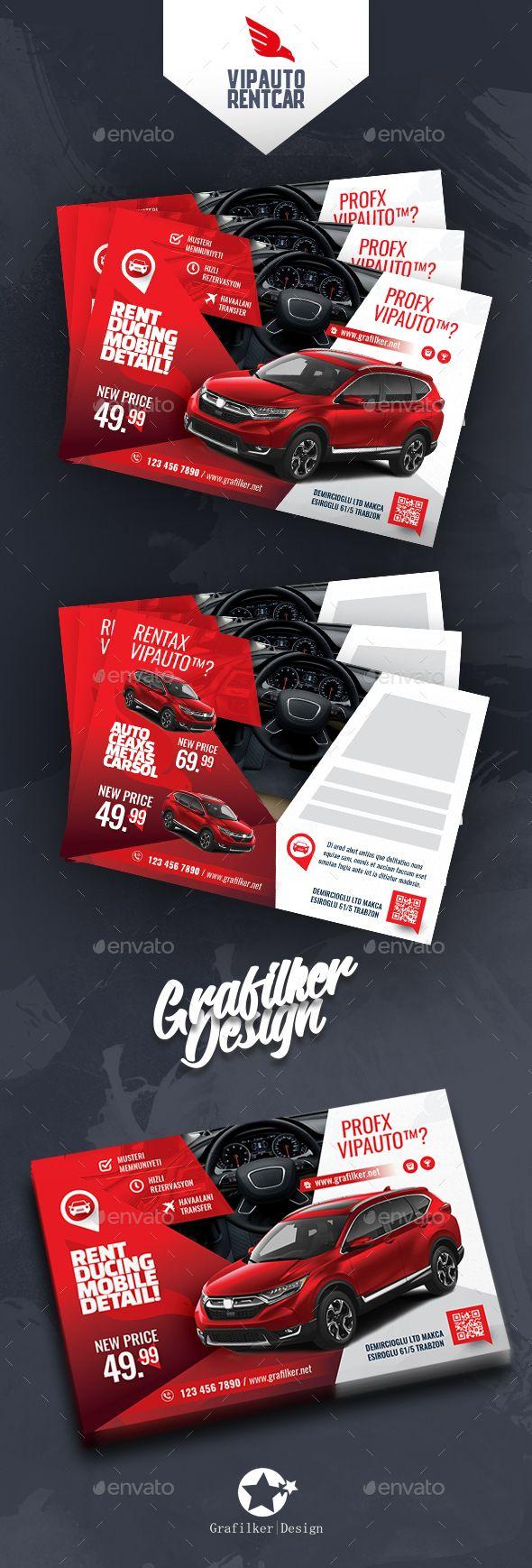 Rent A Car Postcard Template PSD, InDesign INDD Postcard