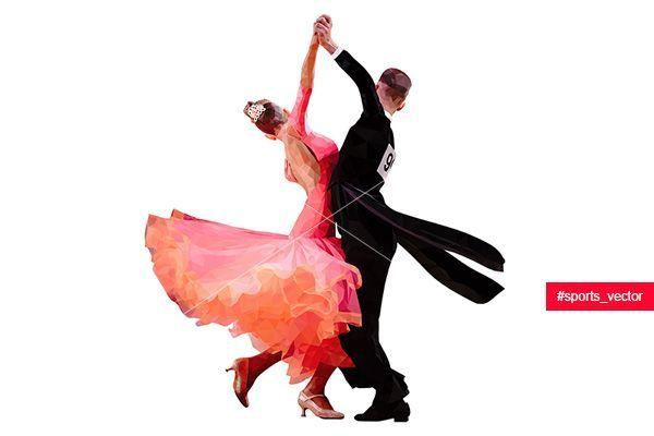 danseurs de couple sport polygonale dillustration vectorielle de danse de salon