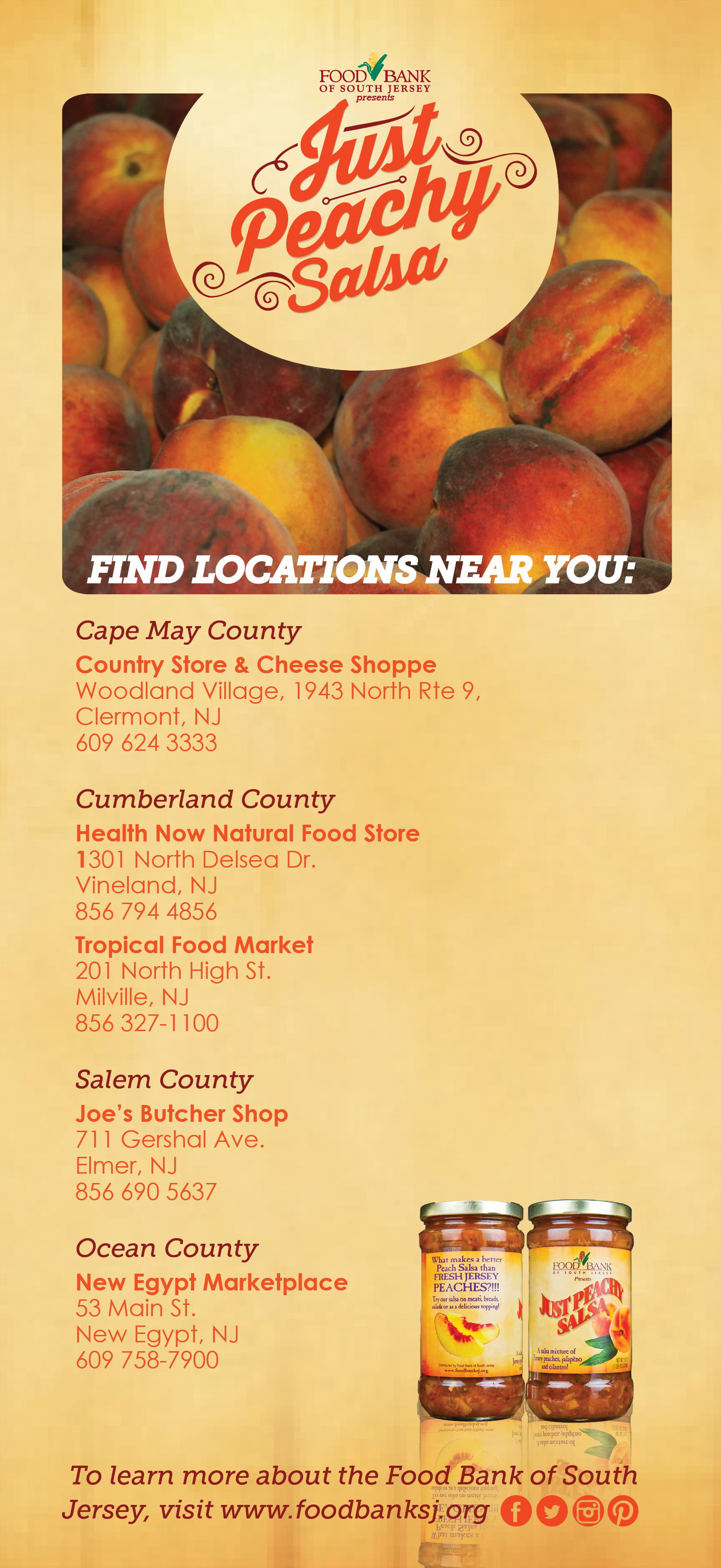 Find Just Peachy Salsa Throughout South Jersey 100 Of Proceeds Go To Hunger Relief Programs In South Jersey Doitfo Harvest Recipes Tropical Food Food Store