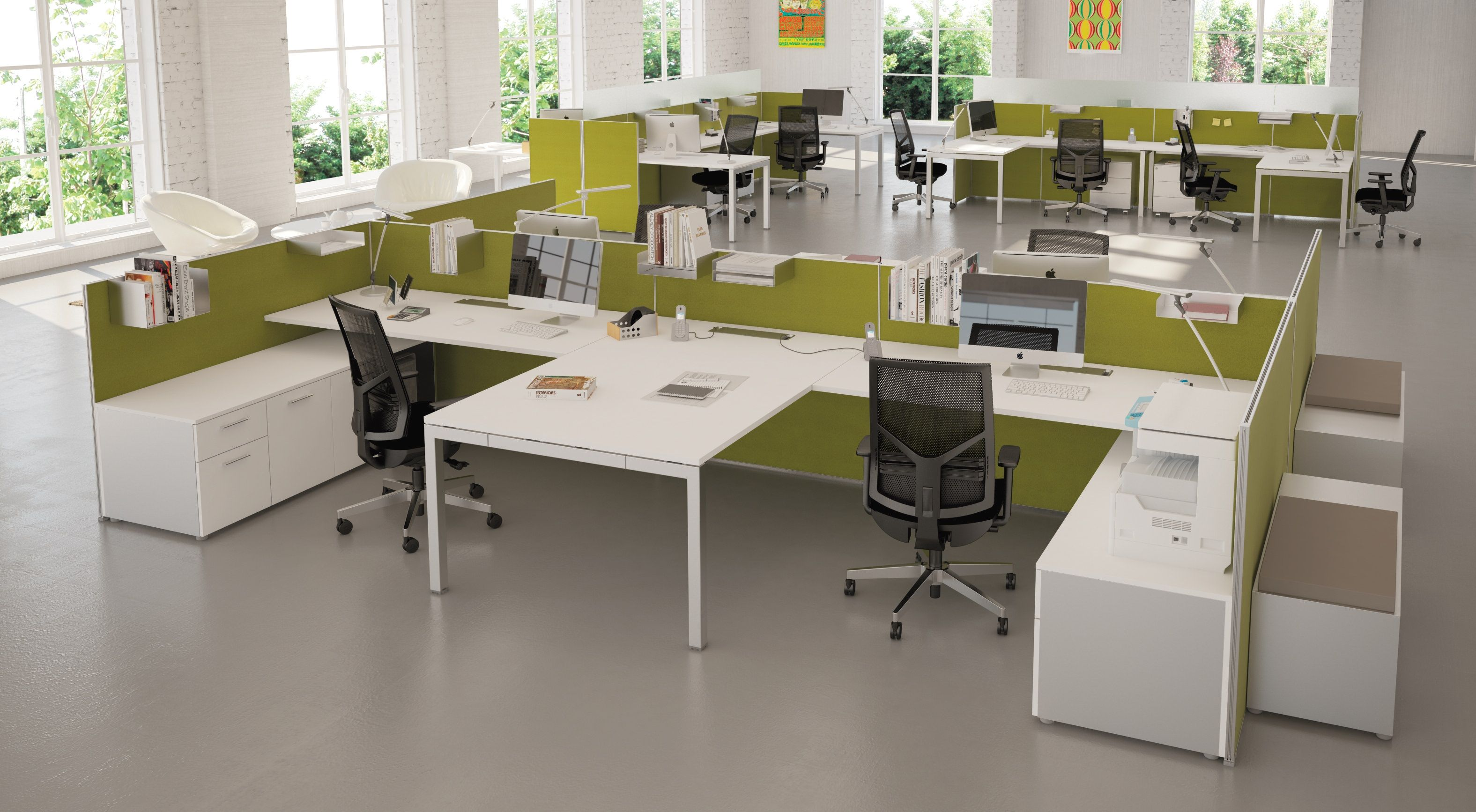 CUBE Modular Workstation Setup With Floor Standing Fabric Screens And  Storage By Utility+ White MFC Tops