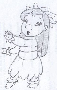 Disney Sketch Lilo Dancing Hula Easy Disney Drawings Disney Art Drawings Cartoon Drawings