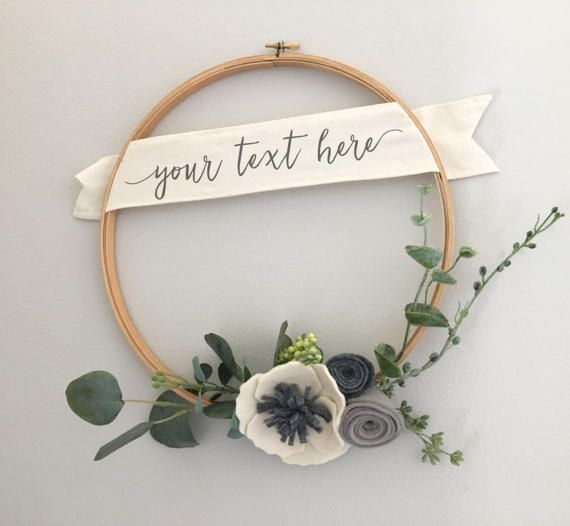 Items similar to Personalized Holiday Wreath // Modern Felt Flower Wreath // Embroidery Hoop Wreath by G & Tea on Etsy