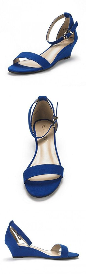 fab06ab118c51 DREAM PAIRS Women s Ingrid Royal Blue Suede Ankle Strap Low Wedge Sandals  Size 8 ...