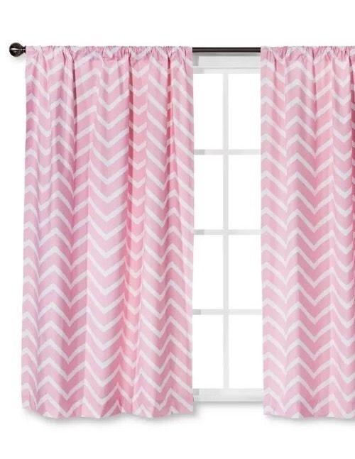 Circo Pink Chevron Foam Backed Curtain Panel One 84 L Ebay Chevron Curtains Panel Curtains Pink Curtains Nursery