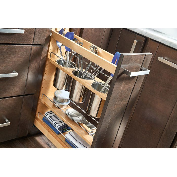 5  PullOut Cabinet Utensil Organizer is part of Open Cabinet Organization - RevAShelf's beautiful base organizers feature adjustable shelves with chrome rails to help keep everything in its place  Stop digging through drawers for utensils and say goodbye to unsightly, space monopolizing counter bins with the pullout designed specifically for storing a multitude of utensils  Units glide out on the blumotion soft close slide system, which is some of the industry best slides  Door mounting is easy with patented door mount brackets that provide of flexibility for trouble free installation on any door style