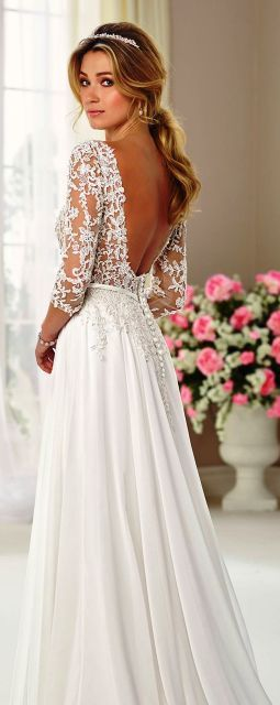 Cool Long Sleeve Flowy Wedding Dress