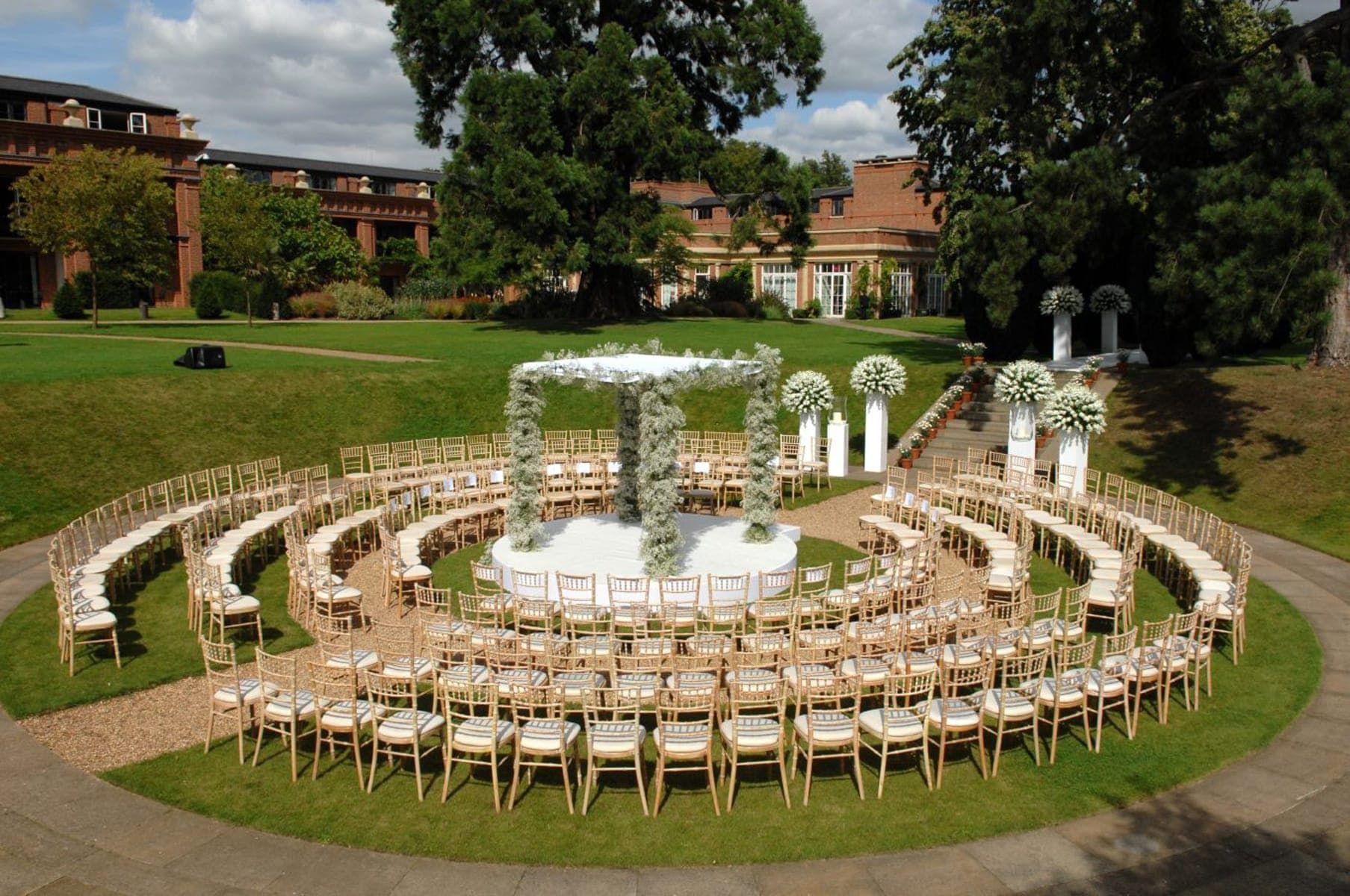 Outdoor Wedding In The Sunken Garden At The Grove Country House Wedding Venues Wedding Venues Hertfordshire Outdoor Wedding