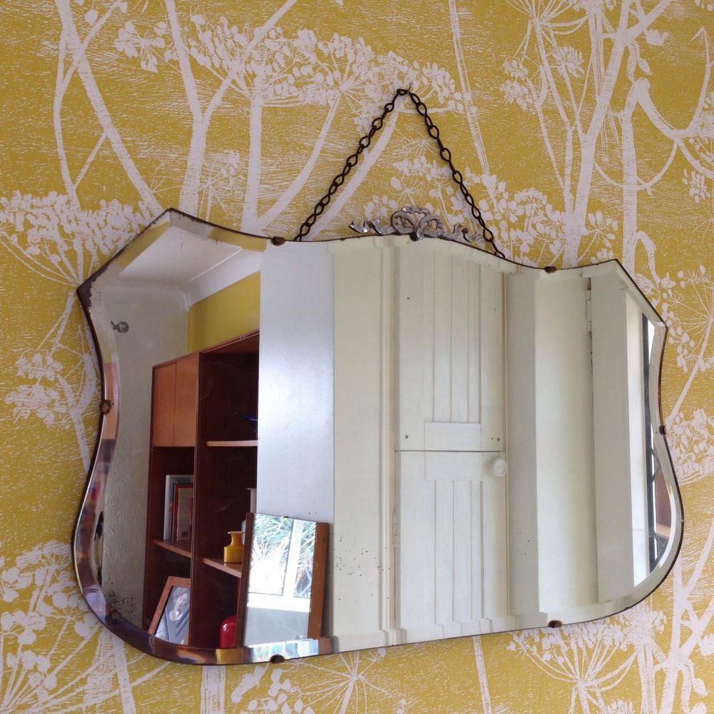 Fabulous large vintage art deco chrome detail frame bevelled hallway wall mirror