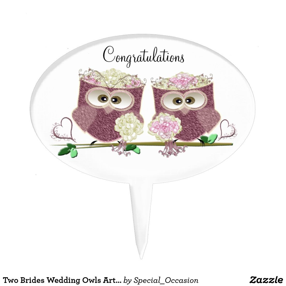 Two Brides Wedding Owls Art Gifts Cake Topper | Wedding cake and ...