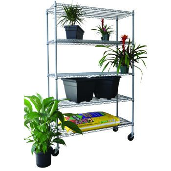 Trinity 5 Tier Outdoor Wire Shelving Rack With Wheels 48