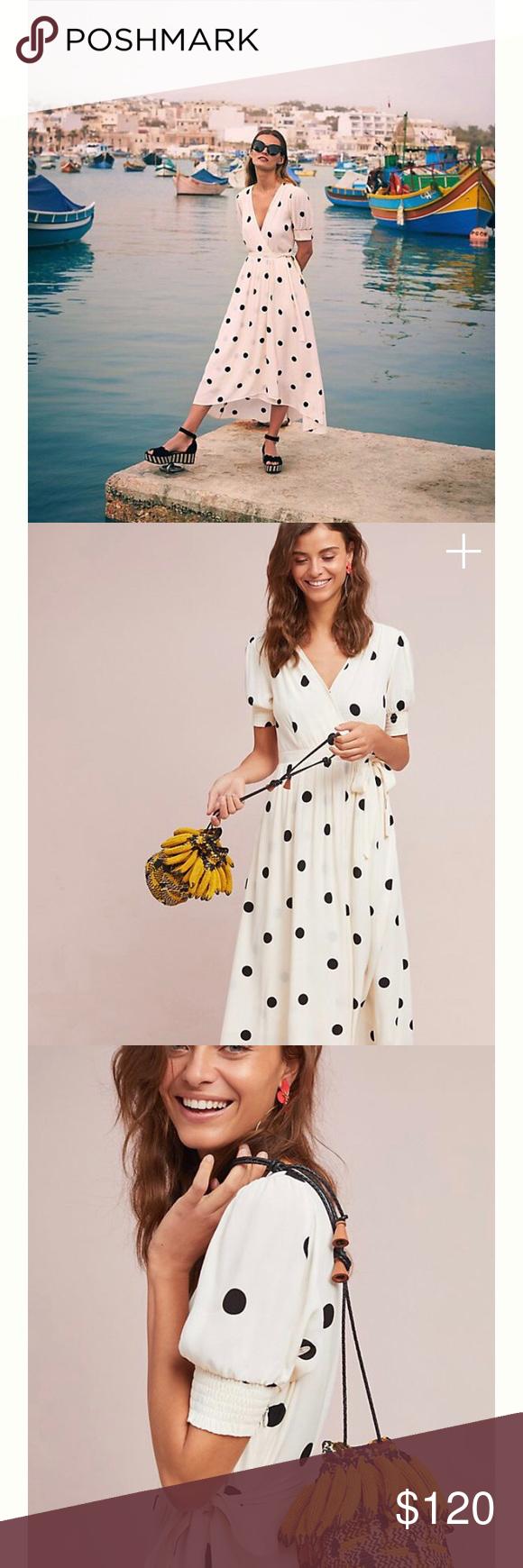 14f30f36c23e Anthropologie's Breanna Polka Dot Wrap Dress Anthropologie's Maeve brand.  Size 6. White and black