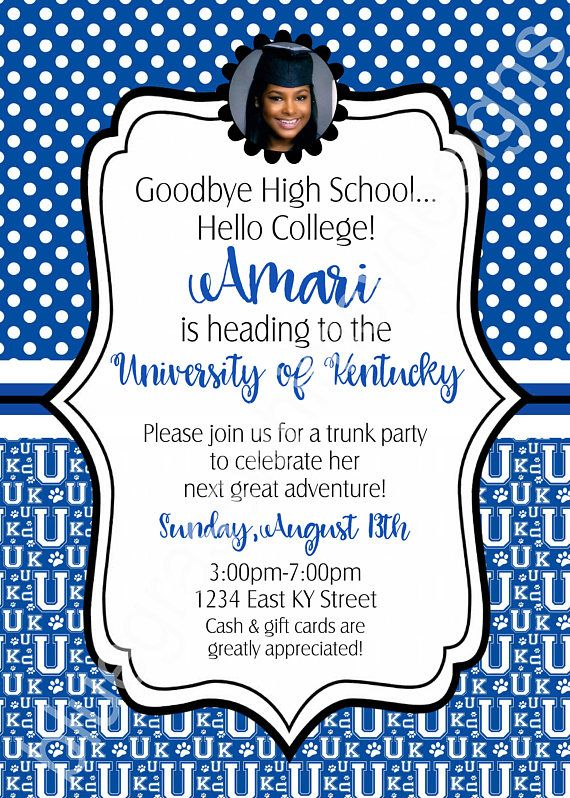 Graduation, Trunk Party, College Send Off Party, Any School - fresh invitation wording for trunk party