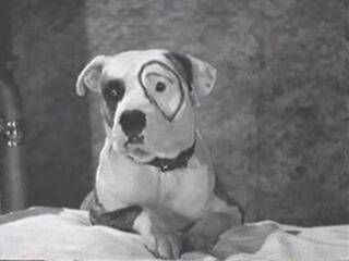 This was Pete from the Little Rascals with his ring around his eye ... it was drawn on by Max Factor who later came out with his own line of makeup!  Wow ...  who knew!  (: