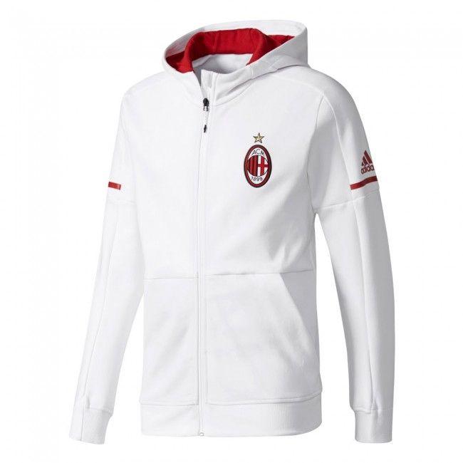 Chaqueta del AC Milan 2017-2018 Anthem - Blanco  jacket  acmilan ... 46e8dbe6b5a81