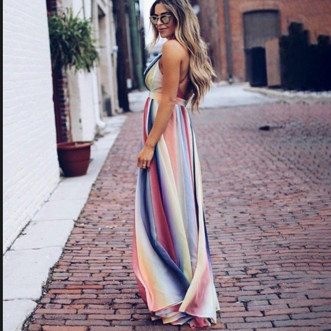 Spring Pastel Rainbow Maxi Dress Maxi Dress Printed Maxi Dress Maxi Dresses Casual [ 1056 x 1056 Pixel ]