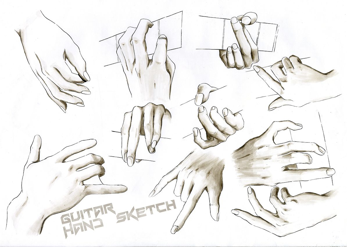 Guitar Hand Sketch Hand Sketch Sketches Humanoid Sketch