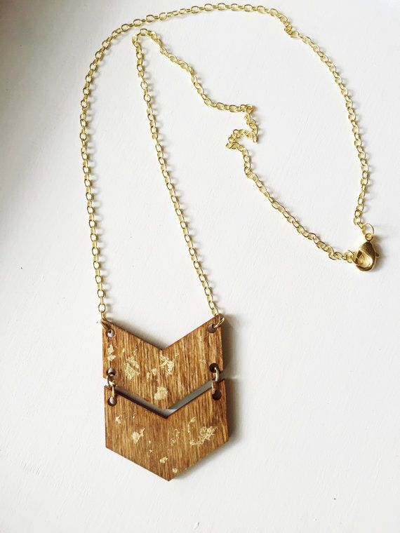 This cool and modern chevron necklace is a great gift for a friend...or for yourself!  ♥ The wood chevron pendant is laser cut, hand-stained,