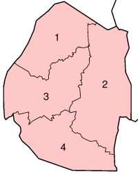 A clickable map of Swaziland exhibiting its four districts ...