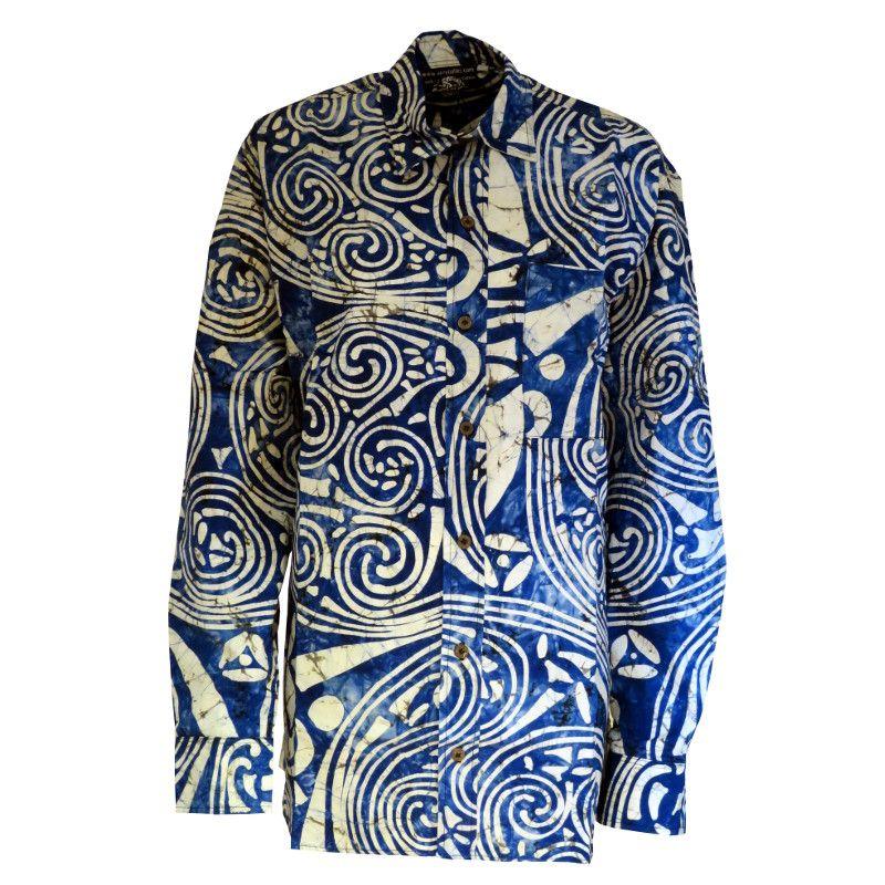 super popular e1f2c 97ca4 Durrow Spirals Blue Long Sleeved Batik Shirt Medium | Batik ...