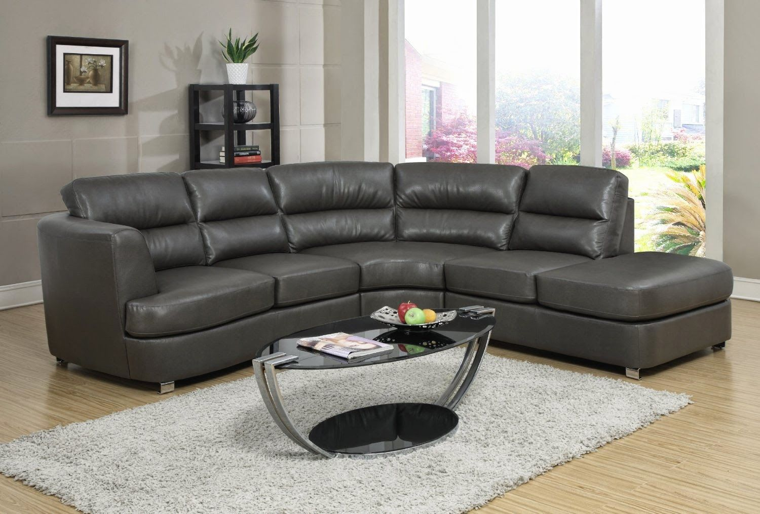 Sofa Angela Grey Leather Couch