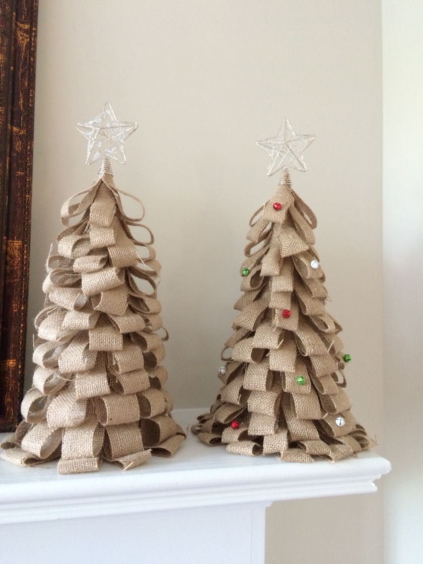 burlap christmas trees with bell ornaments
