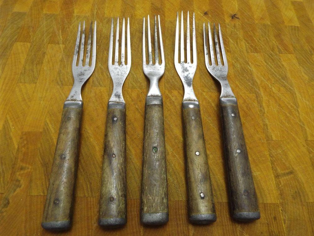 Antique Wood Handle 5 Forks LOT Pewter Inlay Civil War Era