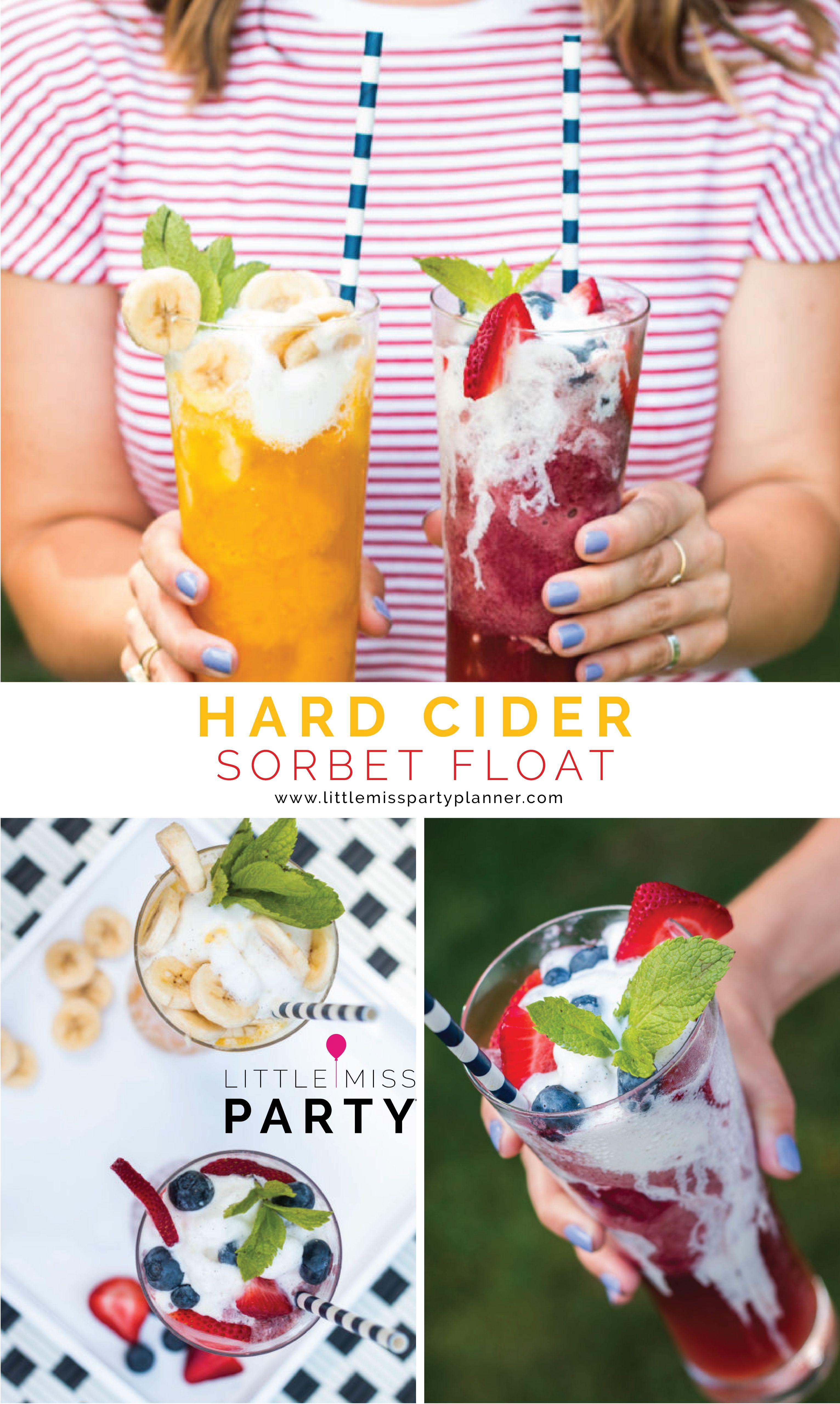 Fruity hard cider sorbet ice cream float dessert recipe
