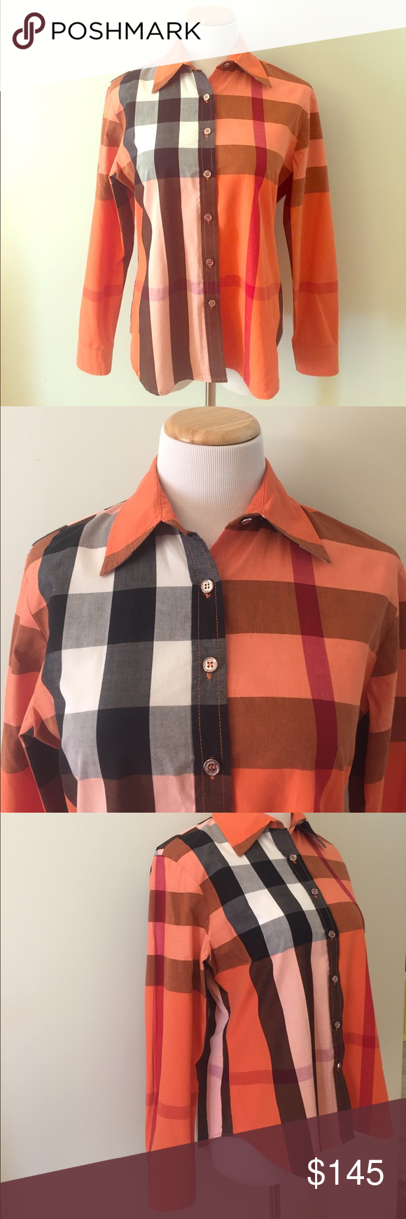 """Burberry Button Down Shirt Size M This Burberry button down shirt size M is in orange Burberry plaid print and in excellent pre-owned condition. No stains, rips or odors! A classical piece of Burberry collection! Armpit to armpit laying flat is 20"""" and it is approx. 25"""" long. Burberry Tops Button Down Shirts"""
