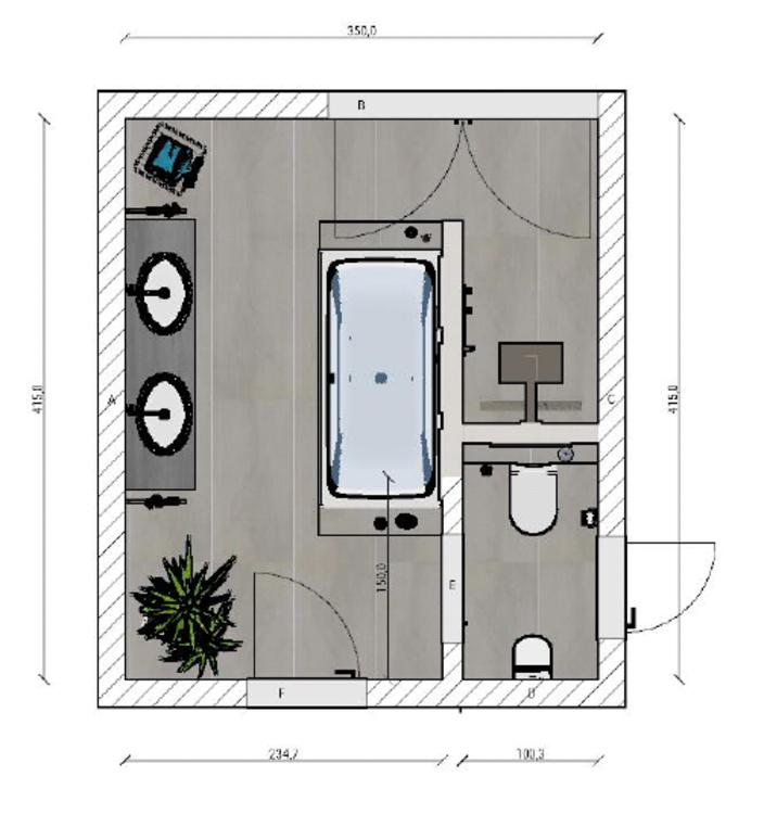 Frieling Das Badezimmer Mit T Losung 15 Qm Badezimmer Planen Badezimmer Grundriss Badezimmerideen