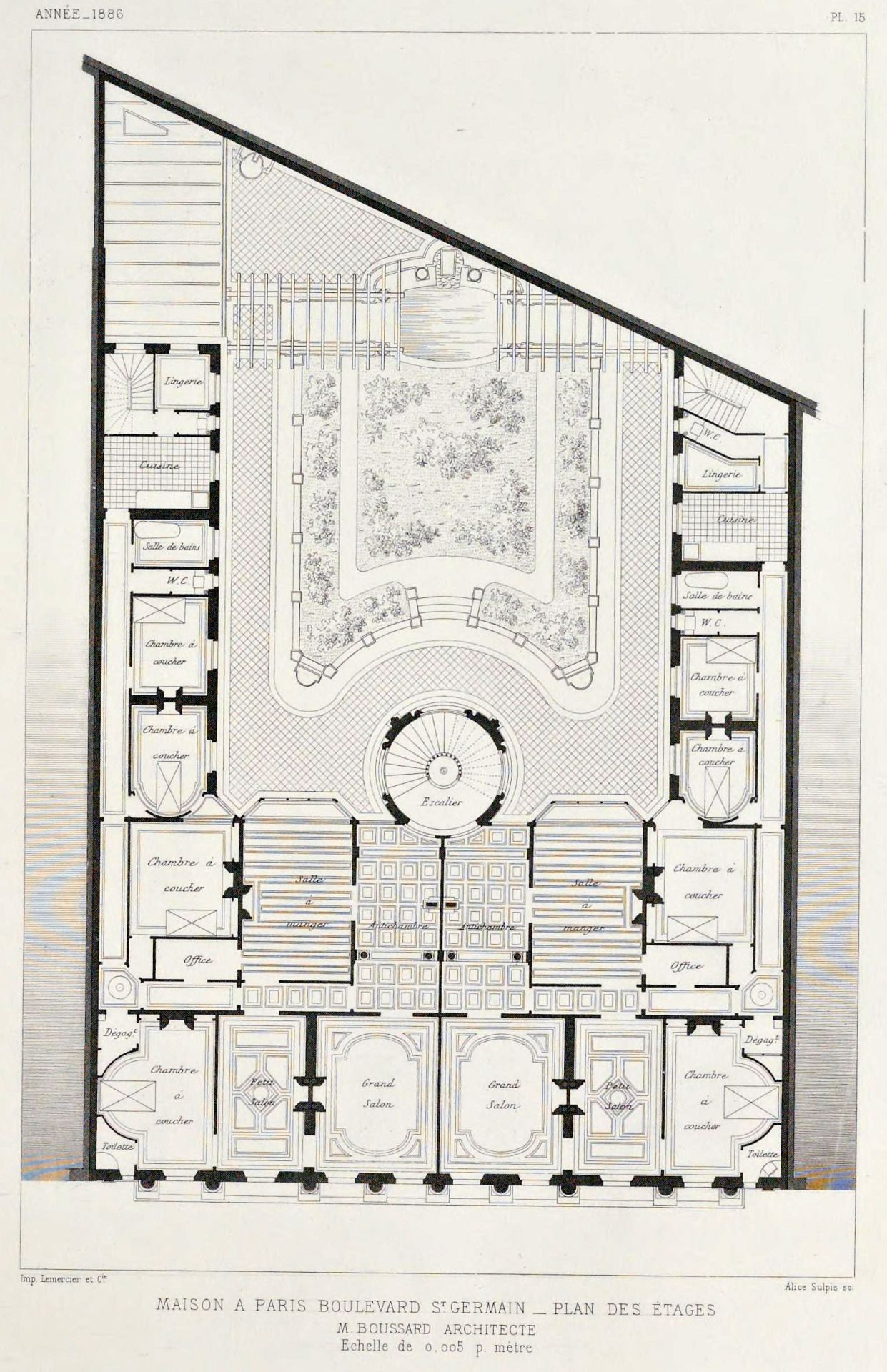 Floor plan of an apartment building on Boulevard Saint-Germain ...