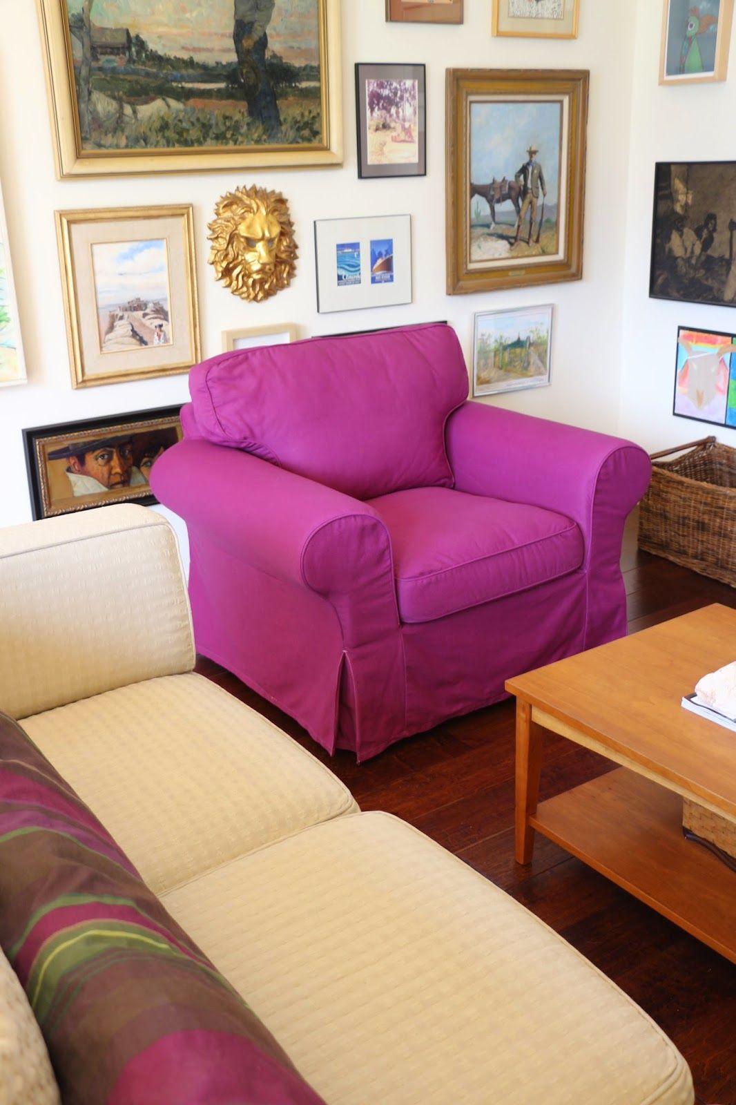Dyeing An Ektorp Slipcover, Fuschia Chair, DIY Chair Cover, Ektorp Chair,  Ikea Hack