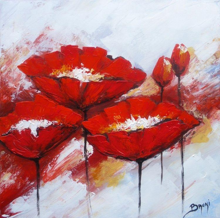 Tableau peinture coquelicots par l 39 artiste peintre bruni eric amapolas - Idee tableau peinture ...